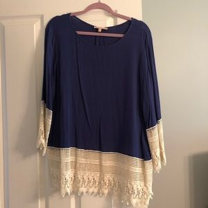 Gibson Latimer navy and lace long sleeve blouse